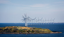 Offshore Wind Farm In The Baltic Sea Off The Coast Of Denmark On 18 July 2019