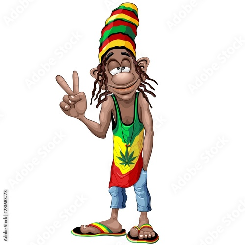 Photo Stands Draw Rastafari Cool Peace Sign Cartoon Character Vector Illustration