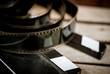 Movie classic vintage concept slate and filmstrip