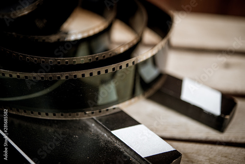 Movie classic vintage concept slate and filmstrip - 281685582