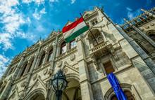 National Flag Of Hungary On Th...