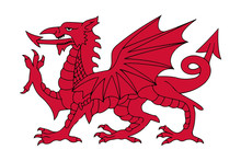 Welsh Red Dragon Vector Illustration