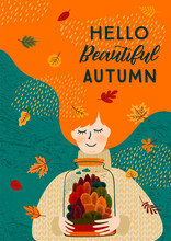 Autumn Illustration With Cute Woman. Vector Design