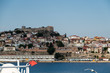 Old city of Kavala, Greece, skyline from the ferry boat from Thasos