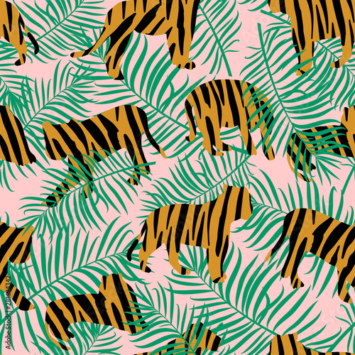 Vector illustration of tigers with tropical leaves and exotic plants on a pink background Fototapeta