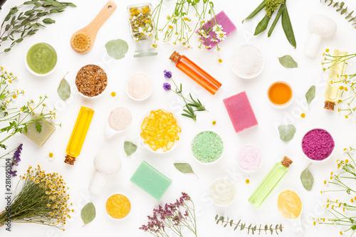 Fotografia, Obraz  Spa aromatherapy floral background, flat lay.