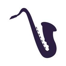 Saxophone Musical On White Bac...