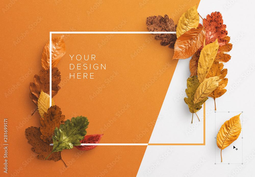 Fototapeta Autumn Leaves Frame Mockup