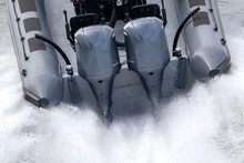 Outboard Motors On A Speed Boat