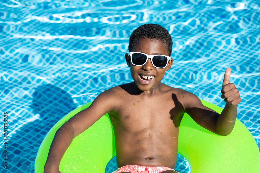 Fototapety, obrazy: kids smiling and happy at the pool