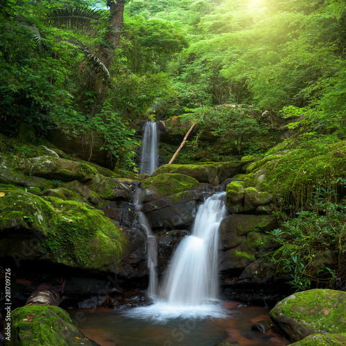 Door stickers Forest river Beautiful waterfall in green forest in jungle, Thailand