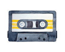 Watercolor Illustration Of Audio Cassette Tape With Bright Orange Stripes. One Single Object, Top View. Hand Drawn Watercolour Graphic Drawing On White Background, Cutout Clip Art Element For Design.