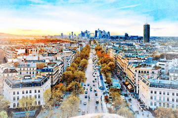 FototapetaBeautiful Digital Watercolor Painting of Avenue Champs Elysees in Paris, France with La Defense Financial District in the background.