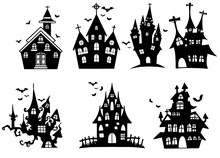 Vector Set With Hand Drawn  Castles On White Background ,set Of Witches For Halloween,Hand Drawn Vector Illustration