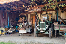 Old Tractor In A Shed