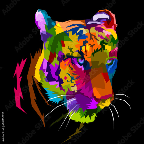 фотография  colorful tiger face isolated with white background