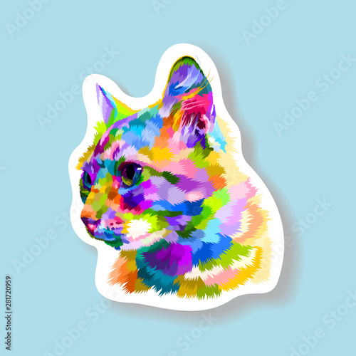 фотография  sticker of colorful cat looking side