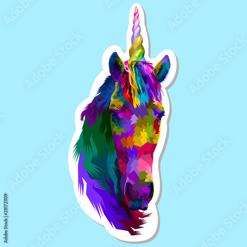 sticker of colorful unicorn фототапет