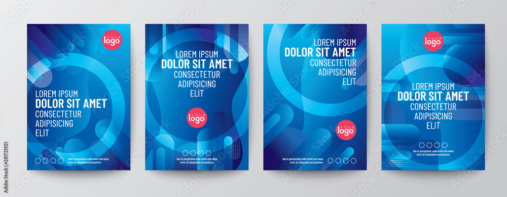 Fototapeta Set of abstract round shape graphic elements on blue background for Brochure, Flyer, Poster, leaflet, Annual report, Book cover, Graphic Design Layout template, A4 size