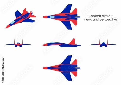Combat aircraft colored. Fototapet