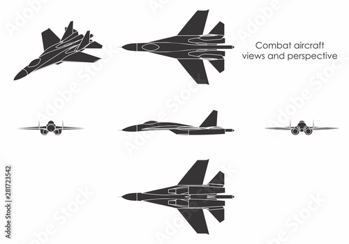 Combat aircraft colored. Tablou Canvas