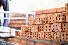 Pile Of Of  Bricks Placing In ...
