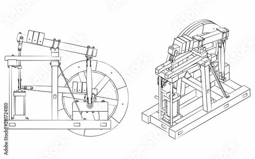 Obraz na plátně Wood Beam Engine original