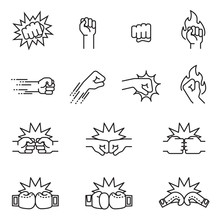 Fight, Fist Bump Icon Set Conc...