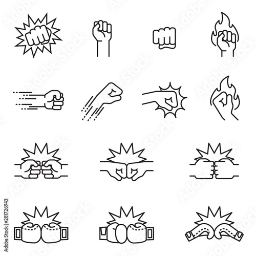 Fotografiet Fight, fist bump icon set concept. Thin line style stock vector.