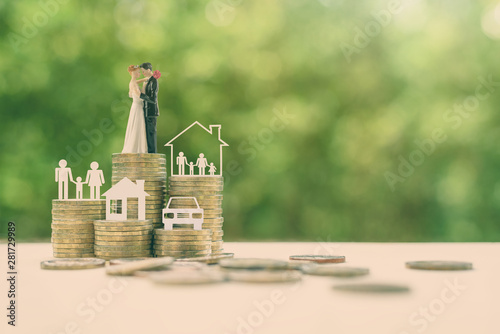 Fotografie, Obraz  Sustainable financial goal for family life or married life concept : Miniature w