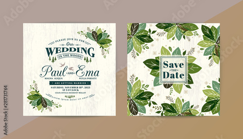 Fototapeta Green Leaves Wedding Invitation Card Save The Date Card With Vintage Style Typography