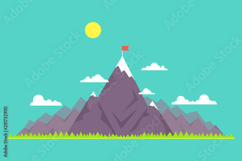 Garden Poster Green coral Top of the mountain with red flag. Business success concept. Vector illustration.