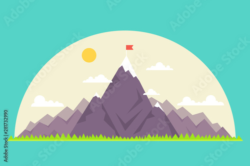 Poster Vert corail Top of the mountain with red flag. Business success concept. Vector illustration.
