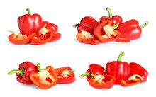 Set Of Fresh Red Bell Peppers On White Background