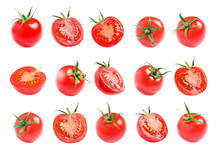 Branch Of Fresh Cherry Tomatoes Isolated On White