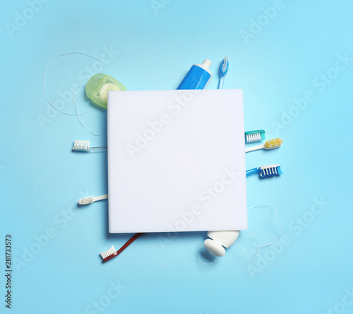 Fotografie, Obraz  Flat lay composition with oral care items on color background