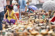 KATHMANDU - NEPAL - 08 APRIL 2019. Some Street Vendors Are Selling Souvenirs In Kathmandu Durbar Square. Kathmandu Is The Largest City And Capital Of Nepal And The Namesake Of The Kathmandu Valley.