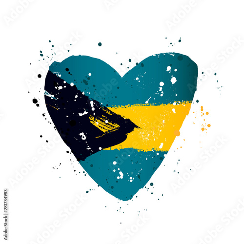 Bahamas flag in the form of a big heart. Wallpaper Mural