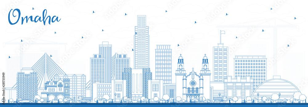 Fototapety, obrazy: Outline Omaha Nebraska City Skyline with Blue Buildings.