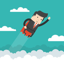 Super Businessman In Red Cape Flying To Success. Business Concept. Flat Cartoon Style. Vector Illustration.
