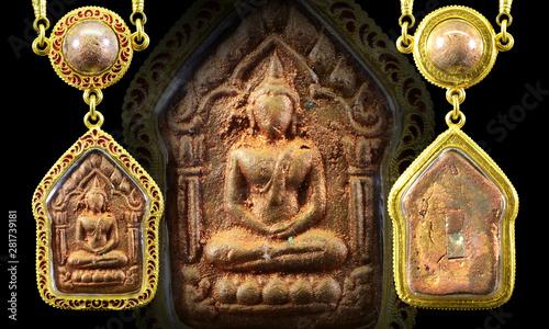 thai amulet gold frame on black background,select focus Wallpaper Mural