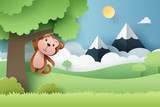 Paper craft of Monkey and forest