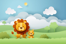 Paper Craft Of Lion And Africa Forest