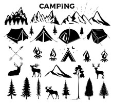 Travel Event. Camping Vector L...
