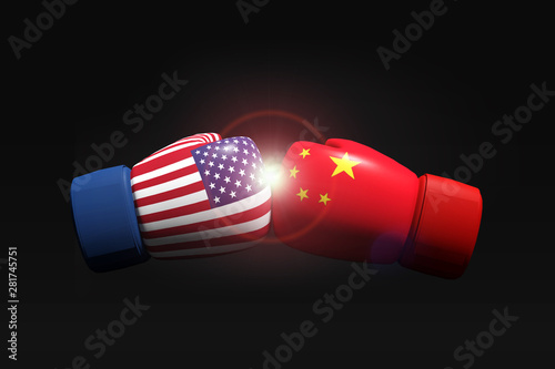 3D Rendering : illustration of fight of trade war USA and China Canvas Print