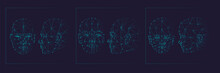 Face Recognition Biometric Scanning System Concept Abstract Tech Background Low Polygon Face: Masculine, Feminine And Childish, Full Face And Profile. Scanning Template Background Vector Illustration