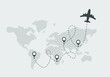 World travel and tourism concept illustration Airplane flying and leave a dashed trace line. Illustration in vector.