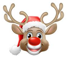 Christmas Reindeer Red Nosed Deer Cartoon Character Wearing A Santa Claus Hat