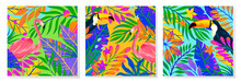 Set Of Summer Vector Illustrations With Tropical Leaves,toucans And Flamingo.Multicolor Plants With Hand Drawn Texture.Exotic Backgrounds Perfect For Prints,flyers,banners,invitations,social Media
