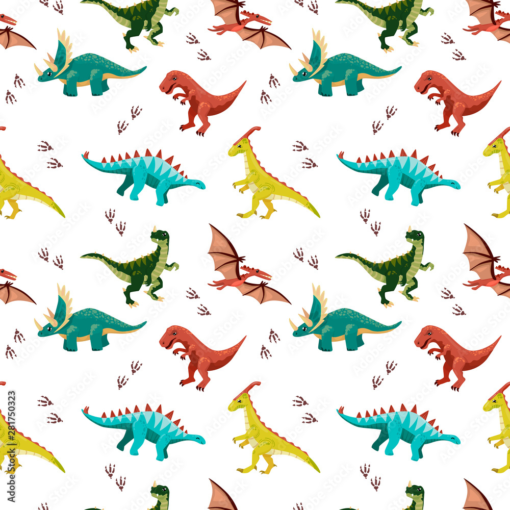 Colored seamless pattern with dinosaurs